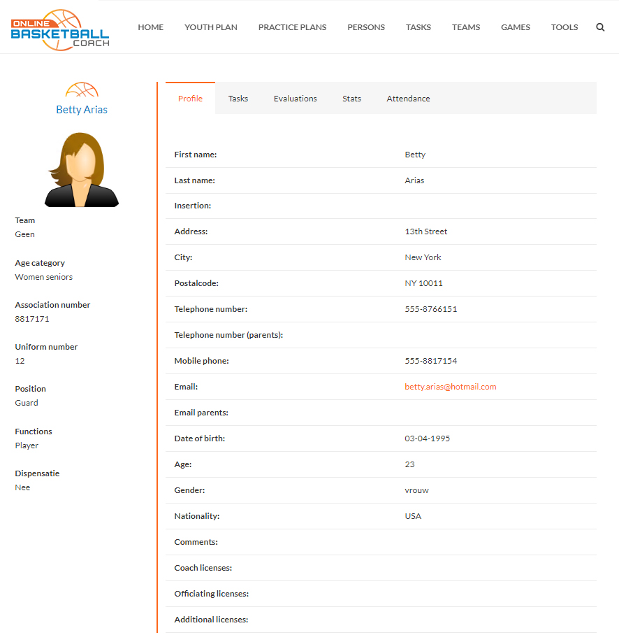 basketball player manager details