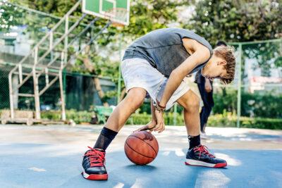 basketball coach dribble at